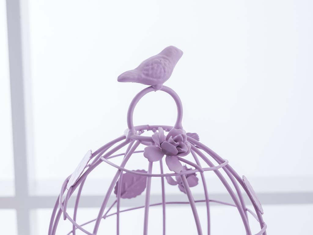 Birdy Ferforje Kuşlu Dekoratıf Kase 19,0x18,0x27,5 Cm Gül Kurusu