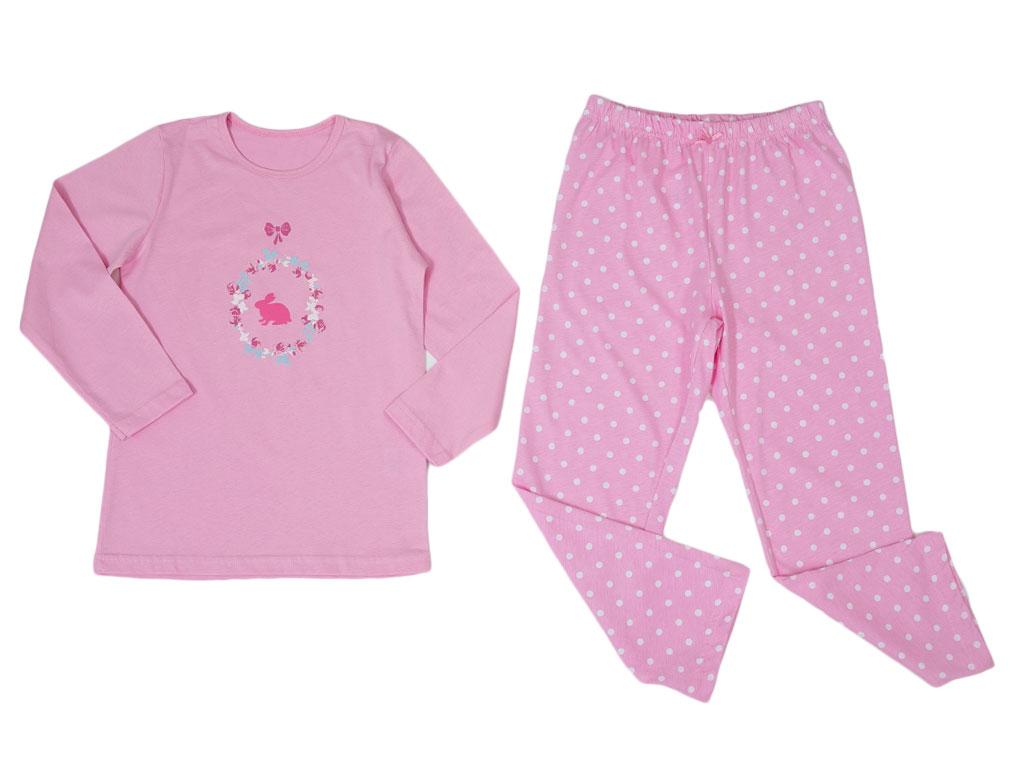 Bunny Pamuklu Uzun Kollu Kız Çocuk Pıjama Takımı 3 - 4 Yaş Pembe
