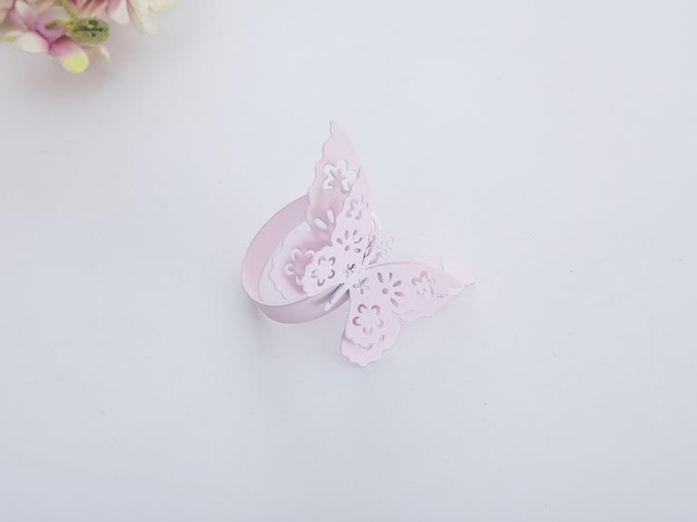 Butterfly Ferforje Tek Peçete Halkası 7,5x7,5x5,0 Cm Açık Pembe