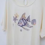 Fish And Shells Penye Bayan Kısa Kollu Pıjama Üst L Açık Krem