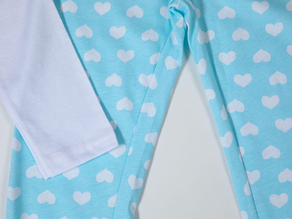 Heart Pamuklu Uzun Kollu Kız Çocuk Pıjama Takımı 7-8 Yaş Mavi