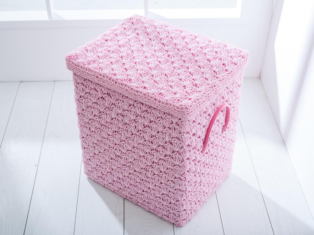 Lady Polyester Çamaşır Sepetı 44x36x50 Cm Pembe