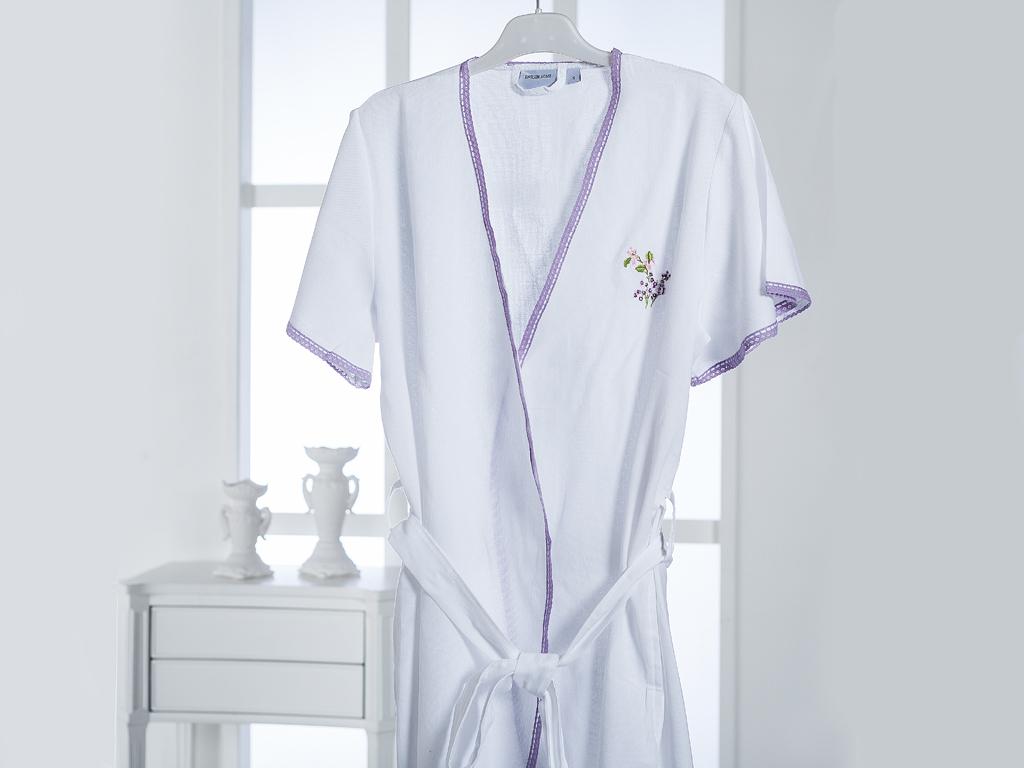 Loving Lilac Nakışlı Bayan Bornoz L Beyaz