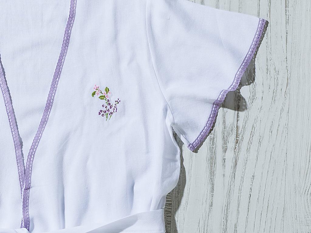 Loving Lilac Nakışlı Bayan Bornoz M Beyaz