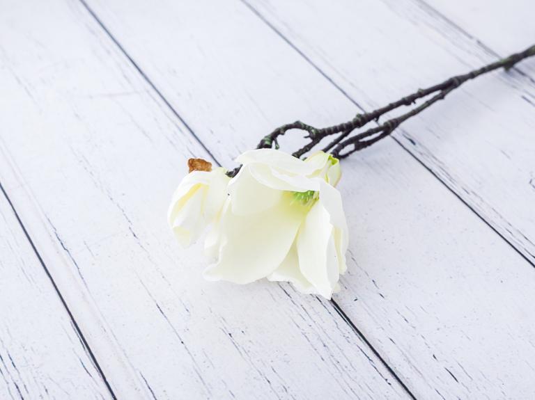 Magnolia Yapay Çiçek 43 Cm Beyaz