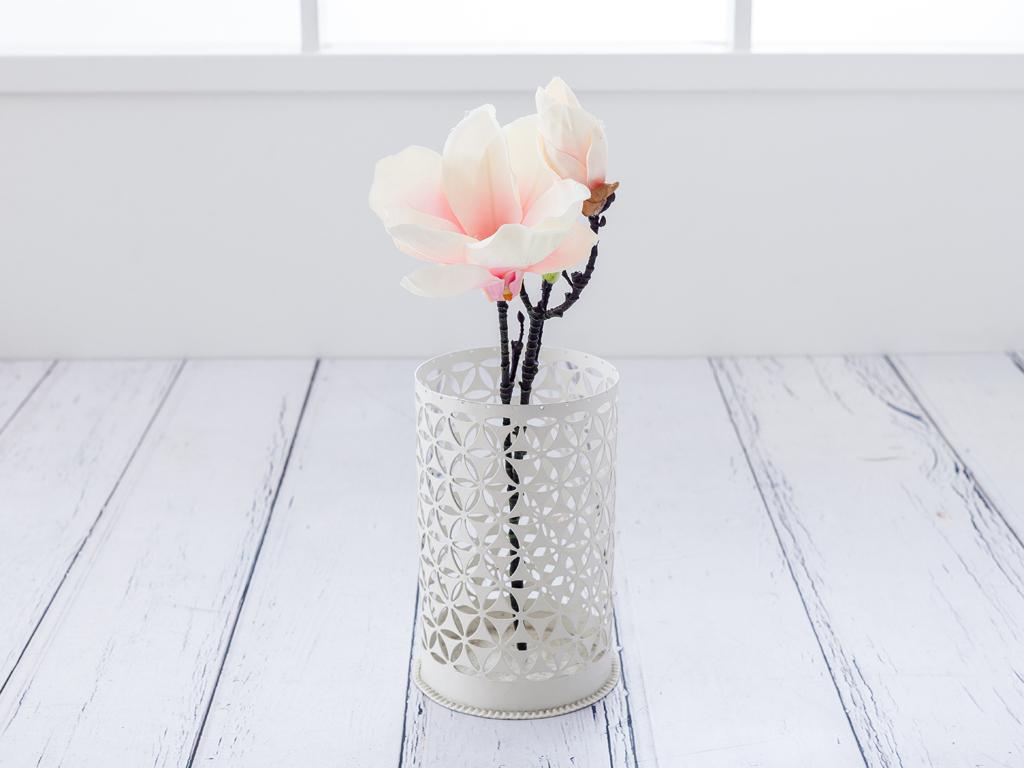 Magnolia Yapay Çıçek 43 Cm Beyaz - Pembe