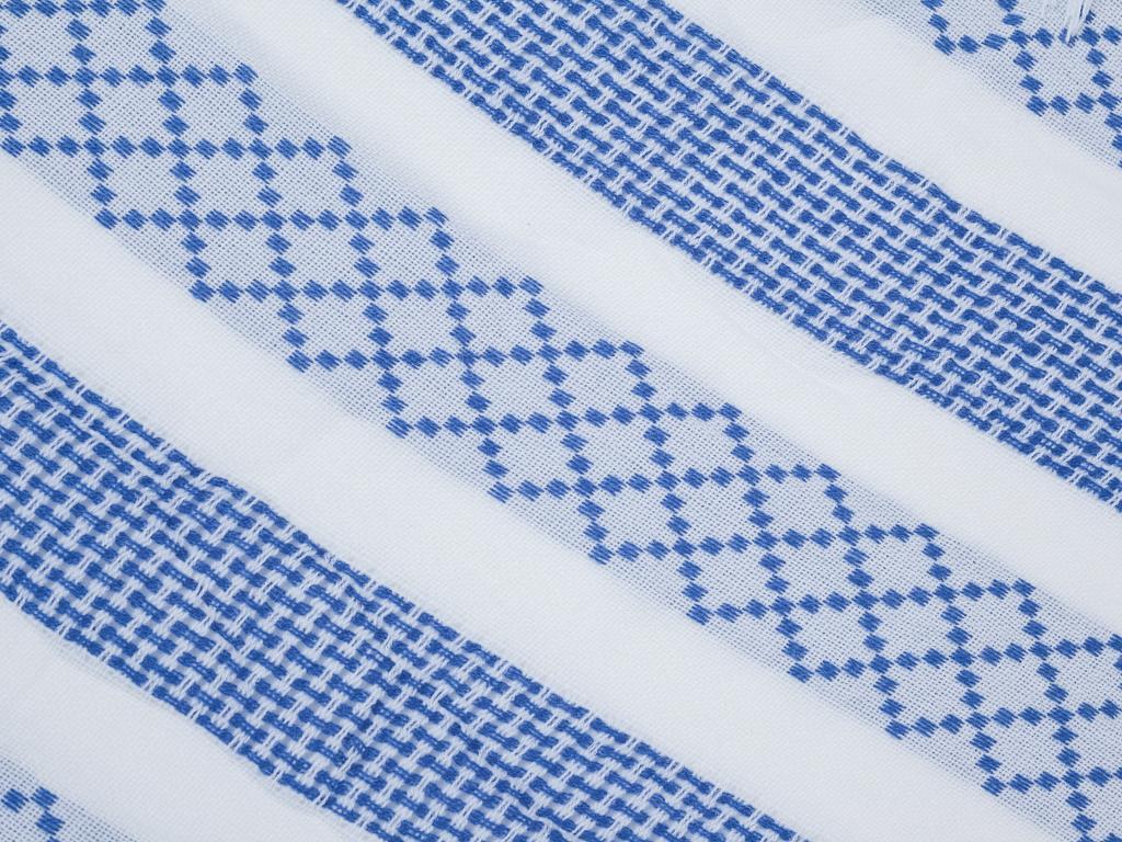 Stripe Fringe Dokuma Pareo 140x90 Cm Açık Mavi