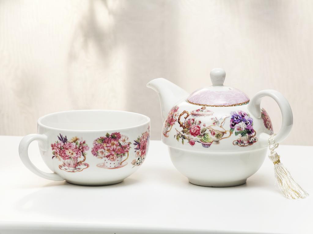 Tea Time Porselen Çay Takımı 14,0x14,0x14,6 Cm Pembe