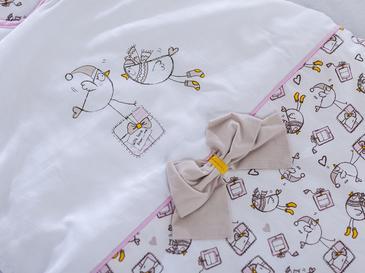 Winter Birds Nakışlı Bebe Uyku Tulumu 0-6 Ay Pembe