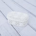 Daisy Tığ İşi Oval Kapaklı Saklama Kutusu 17,5x11,5x7,5 Cm Beyaz