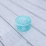 Daisy Tığ İşi Tığ İşi Yuvarlak Kapaklı Saklama Kutusu 12,0x7,5 Cm Mint