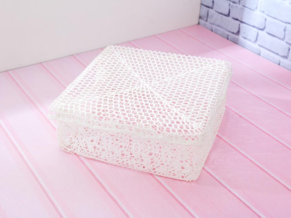 Lace Tığ İşi Tığ İşi Kapaklı Saklama Kutusu 29,5x29,5x12,0 Cm Beyaz