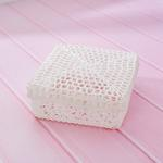 Lace Tığ İşi Tığ İşi Kapaklı Saklama Kutusu 15,5x15,5x7,0 Cm Beyaz