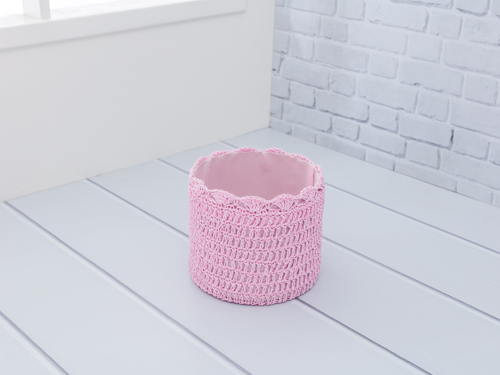 Lucca Polyester Sepet 18x16 Cm Pembe