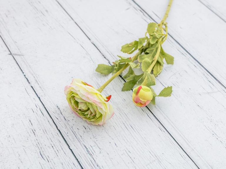 Ranunculus Yapay Çiçek 41 Cm Pembe - Yeşil