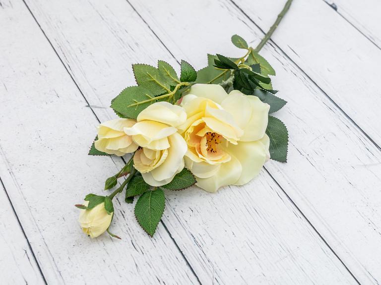 Rose With 3 Bunch Yapay Çiçek 65 Cm Sarı