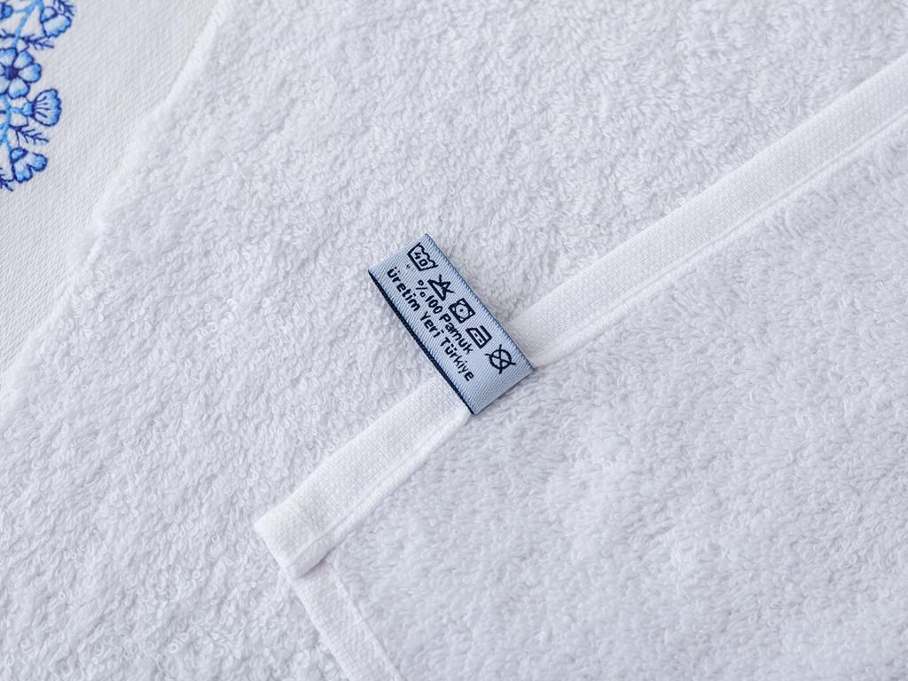 Selina Nakışlı Yüz Havlusu 50x80 Cm Beyaz