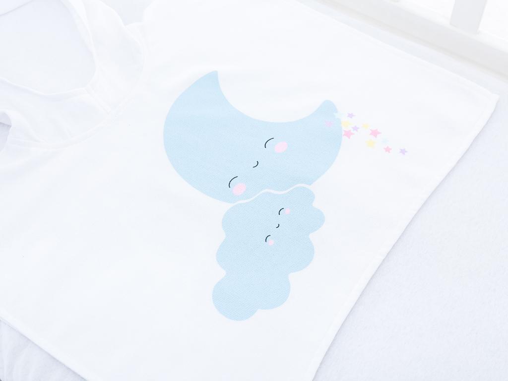Smiling Sky Baskılı Bebe Panço 56x72 Cm Beyaz