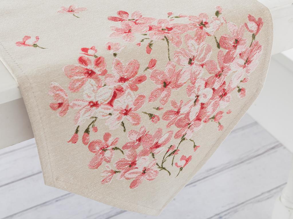 Sakura Goblen Masa Örtüsü 35x105 Cm Pembe