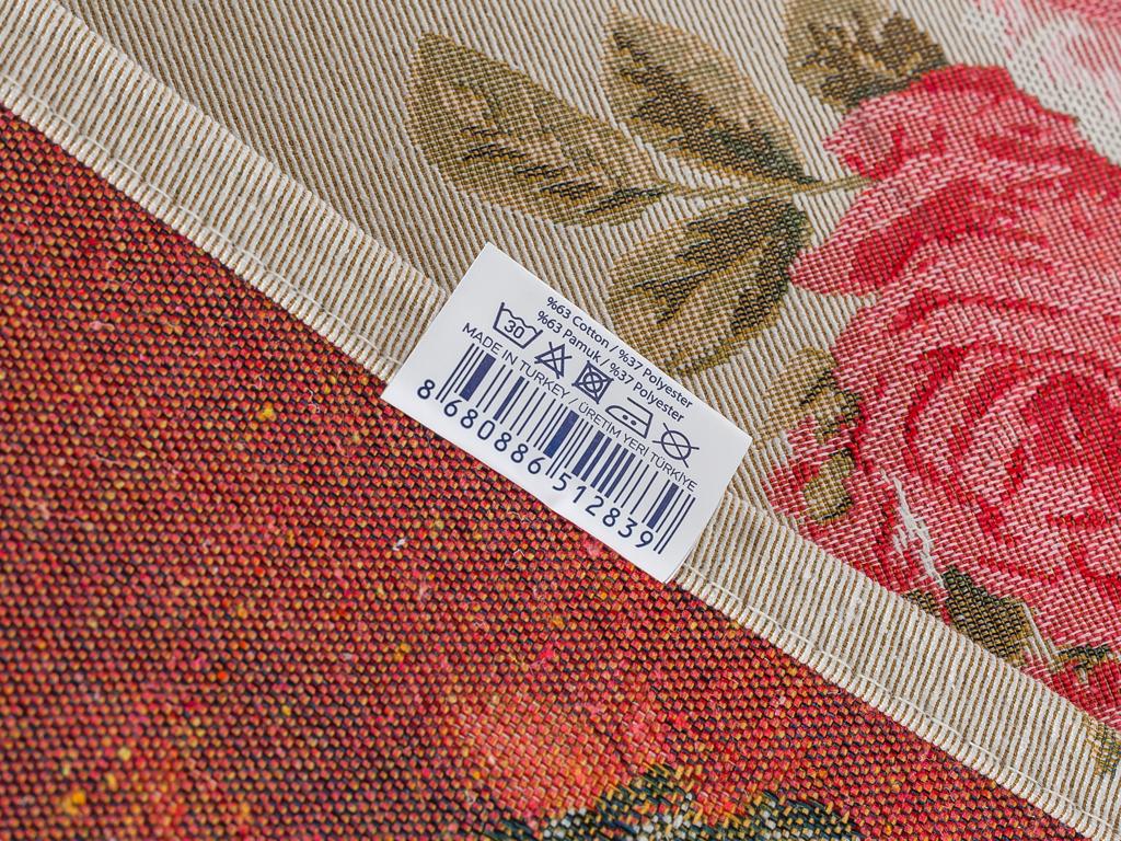 Roses Goblen Masa Örtüsü 35x105 Cm Açık Krem