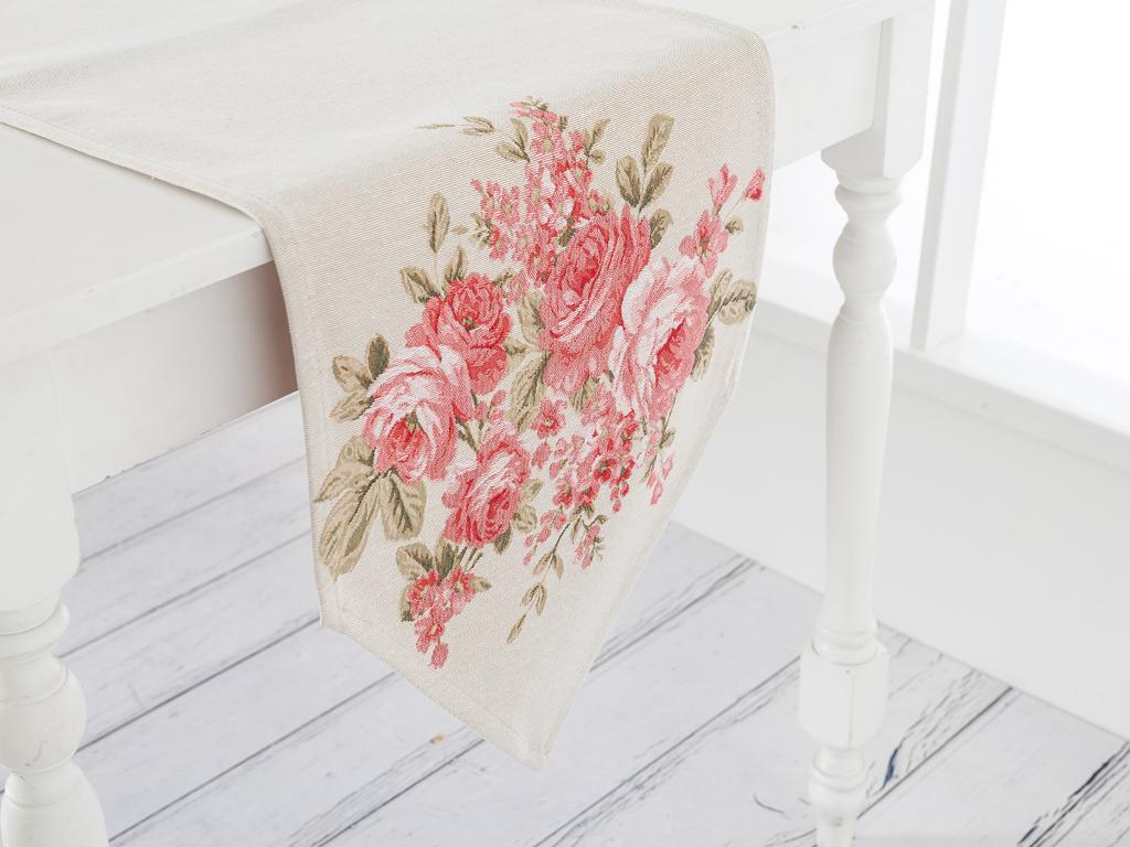 Roses Goblen Masa Örtüsü 35x135 Cm Açık Krem