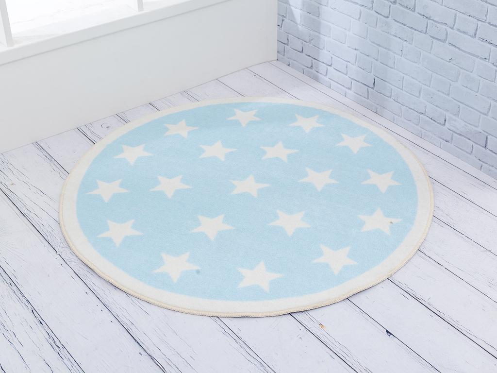 Star Baskılı Çocuk Halı 100x100 Cm Mavi