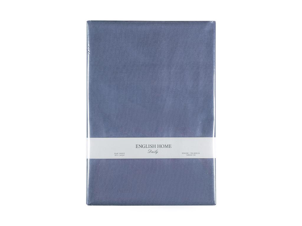 Düz Pamuklu Tek Kişilik Çarşaf 160x240 Cm Koyu Mavi