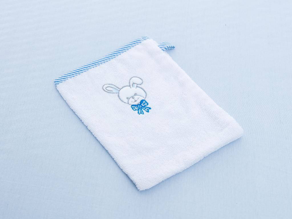 Bear Family Nakışlı Bebe Kese 16x21 Cm Mavi