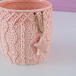 Dreamy Winter Stoneware Yıldızlı Mumluk 10x10x10 Cm Pembe
