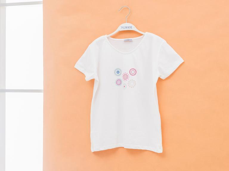 Creole Charm Pamuklu Kız Çocuk Ponponlu Çocuk Pijama Takımı 7-8 Yaş Ekru