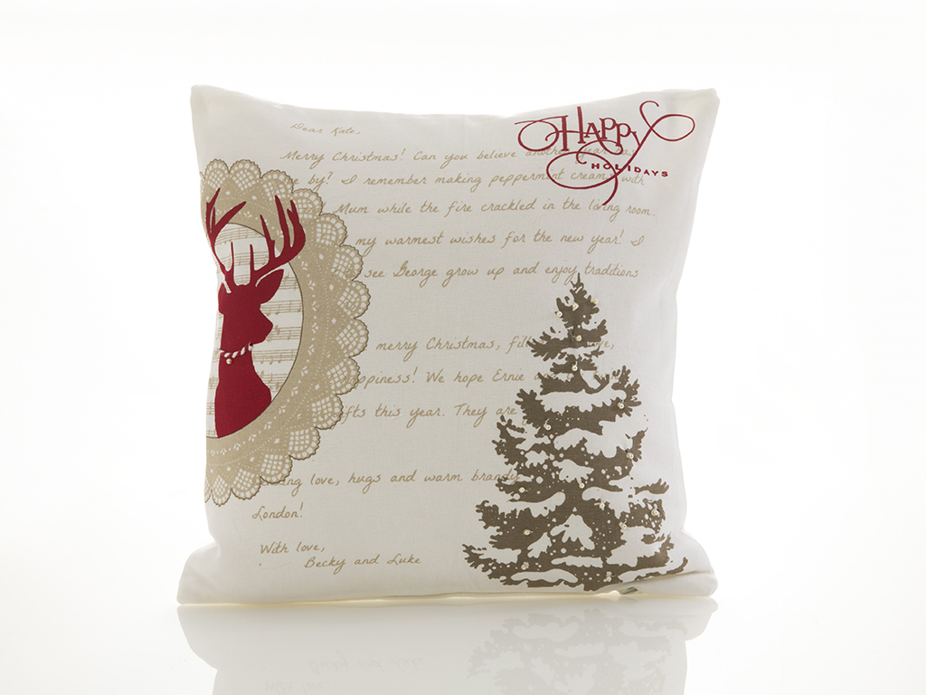Merry Deer Pamuklu Kırlent 40x40 Cm Beyaz