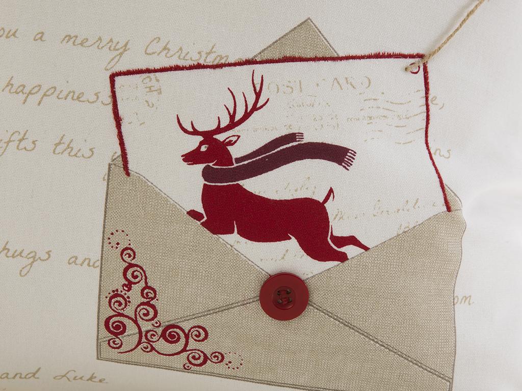 Deer In Love Pamuklu Kırlent 40x40 Cm Beyaz