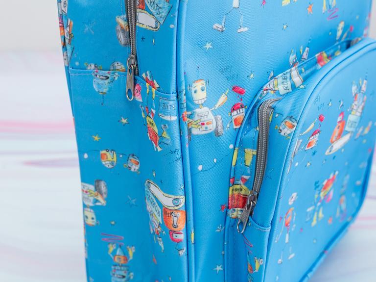 Robot Polyester Çanta 29x37x12 Cm Kırmızı - Mavi