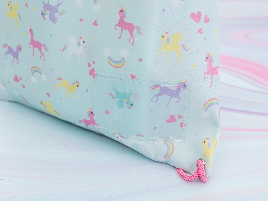 Unicorn Polyester Çanta 39x34 Cm Mint - Lila - Pembe