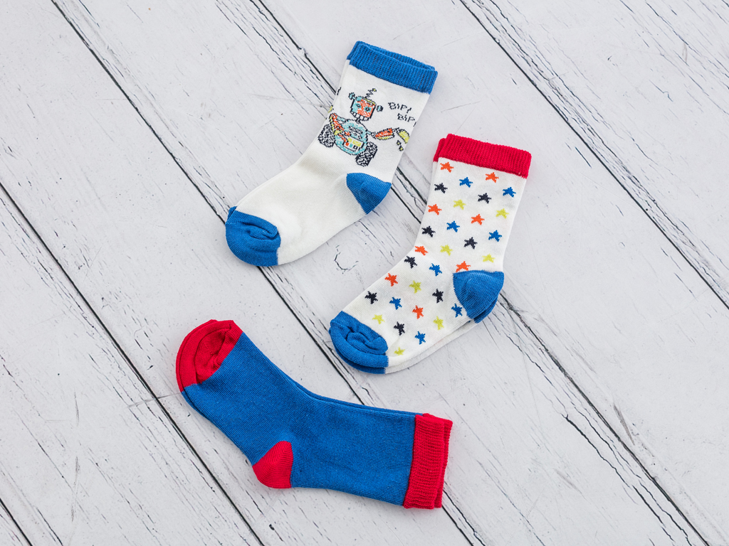 Robot Pamuklu 3 Çift Çocuk Çorap 5-6 Yaş Kırmızı - Beyaz - Lacivert