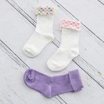 Unicorn Pamuklu 3 Çift Çocuk Çorap 7-8 Yaş Mint - Lila - Pembe