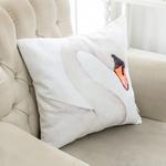 White Swan Dijital Baskı Dolgusuz Kırlent 40x40 Cm Beyaz