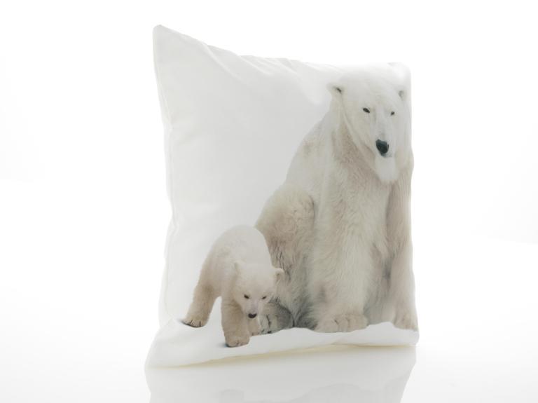Polar Bear Family Dijital Baskı Dolgusuz Kırlent Kılıfı 40x40 Cm Beyaz
