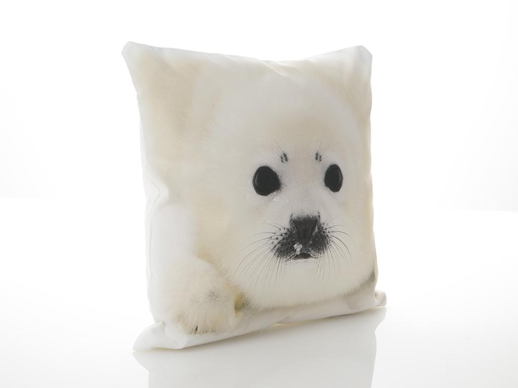 Monk Seal Dijital Baskı Dolgusuz Kırlent 40x40 Cm Beyaz