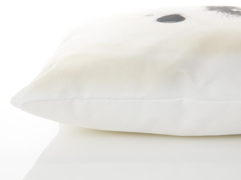 Monk Seal Dijital Baskı Dolgusuz Kırlent Kılıfı 40x40 Cm Beyaz