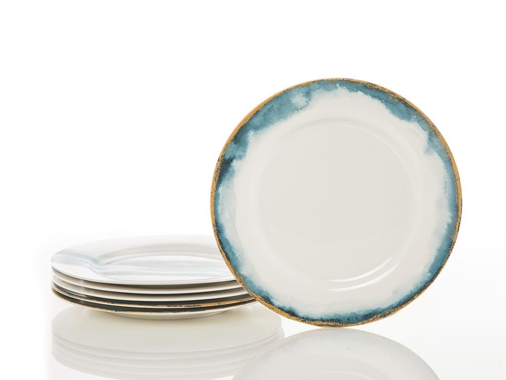 Chic Bone China 6'lı Pasta Tabağı 20 Cm Mavi