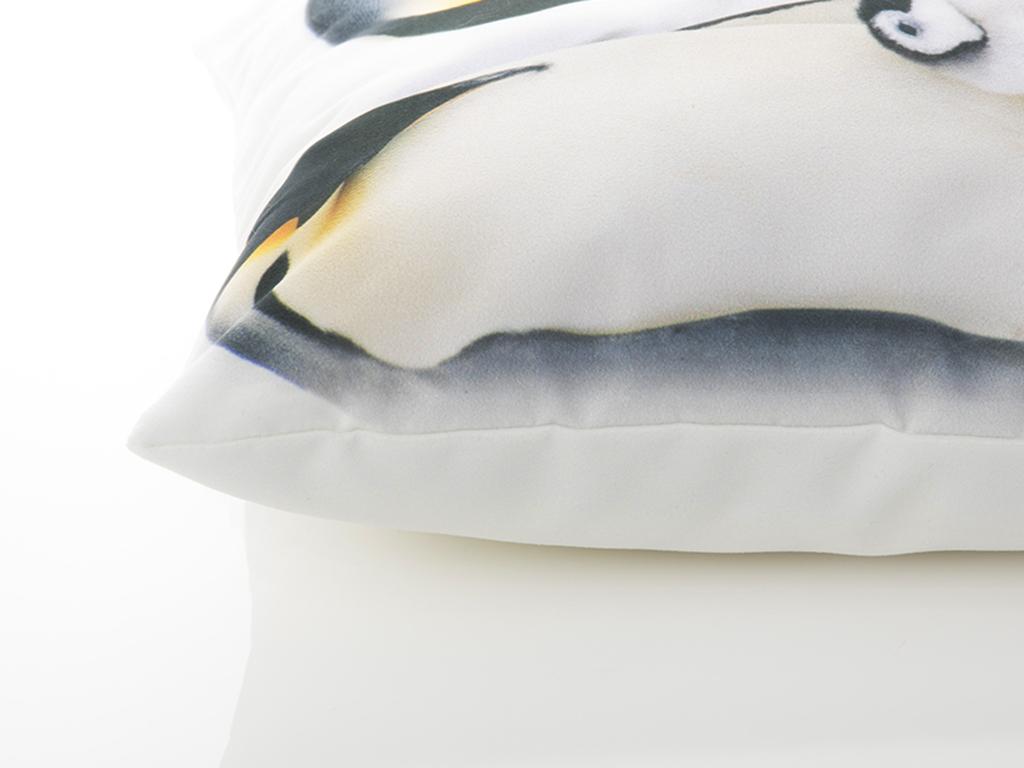 Penguin Dijital Baskı Dolgusuz Kırlent 40x40 Cm Beyaz