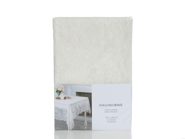 Rose Branch Örme Masa Örtüsü 150x220 Cm Şampanya