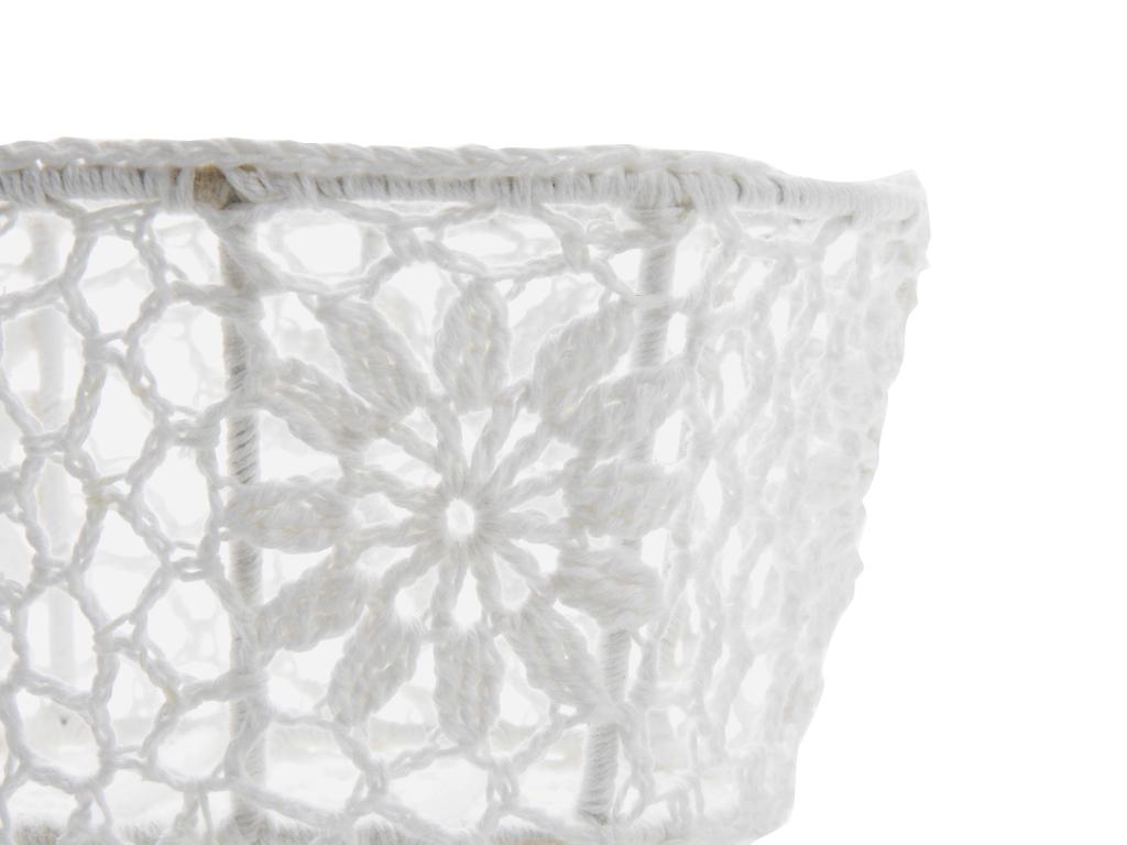Daisy Chain Tığ İşi Oval Sepet 17,5x13,0x9,0 Cm Beyaz