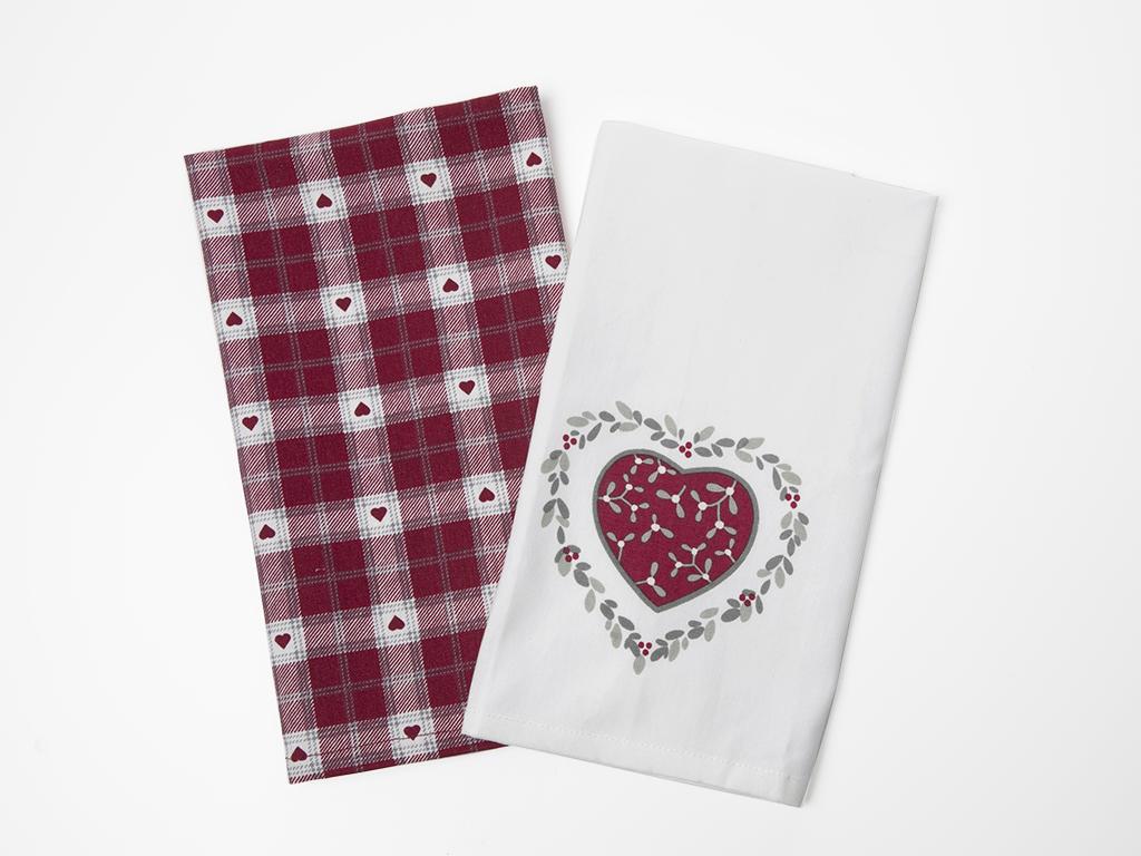 Loving Pamuklu 2'li Kurulama Bezi 40x60 Cm Beyaz - Kırmızı