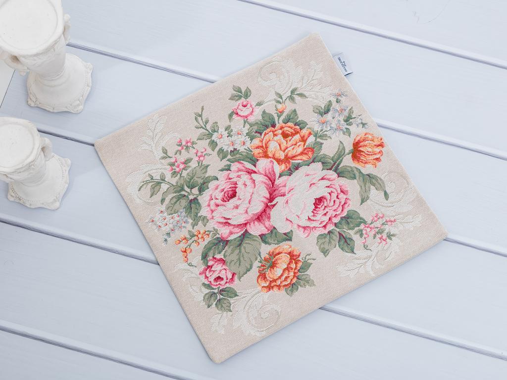 Autumn Roses Goblen Kırlent 45x45 Cm Bej