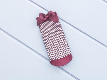Kurdeleli File Kadın Soket Çorap 35-39 Bordo