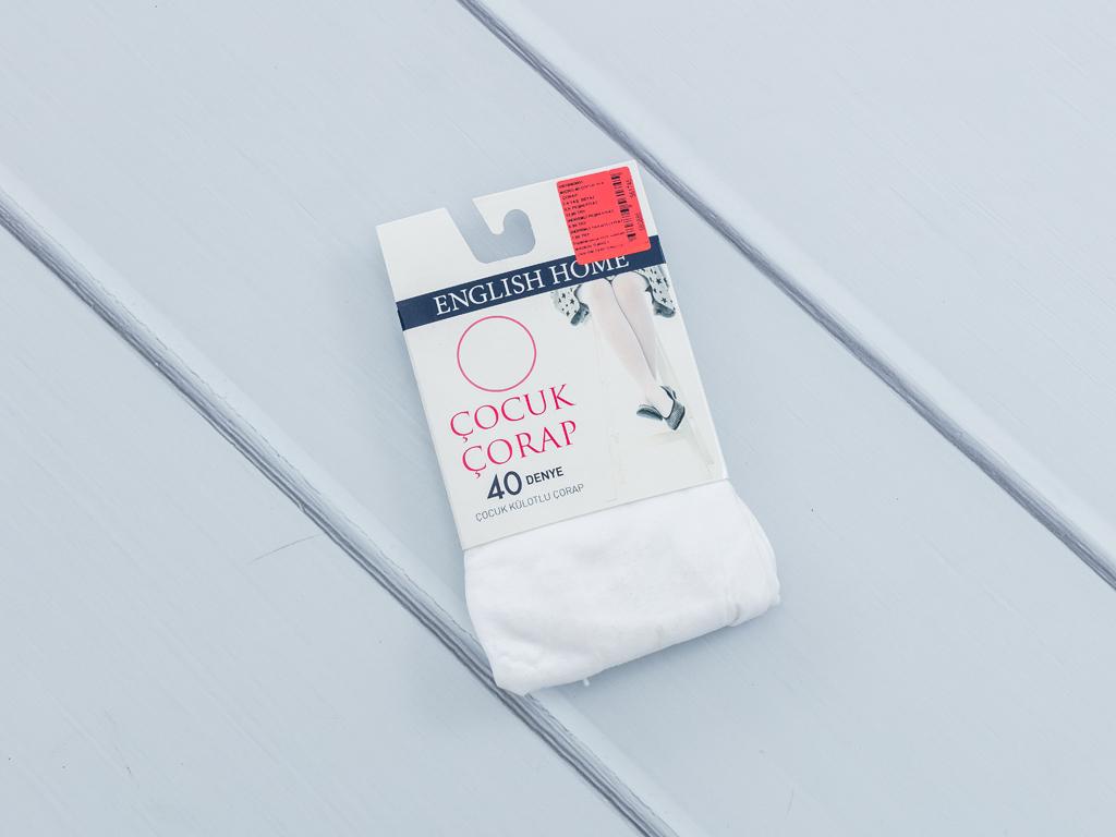 Düz Micro 40 Çocuk Külotlu Çorap 2-4 Yaş Beyaz