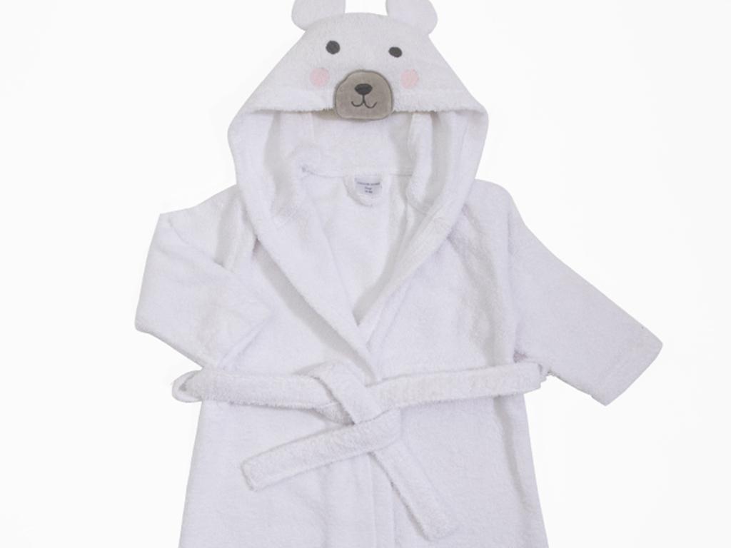 Baby Polar Bear Kapüşonlu Çocuk Bornoz 4-6 Yaş Beyaz