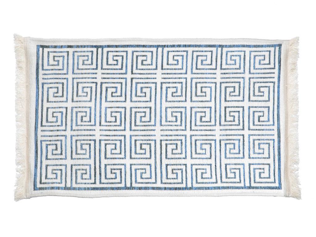 Greek Key Şönil Halı 80x150 Cm Beyaz - Mavi
